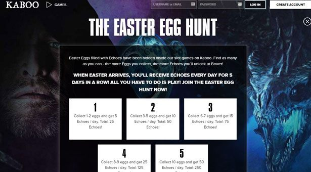 Easter Egg Hunt at Kaboo Casino